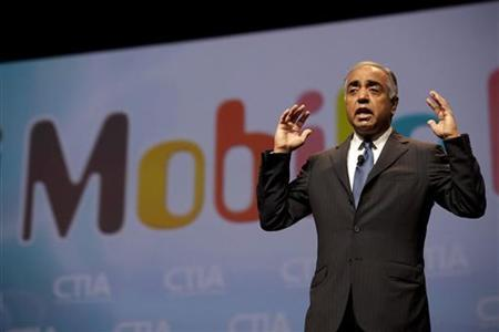 Sanjiv Ahuja, Chairman and CEO of LightSquared delivers his keynote address at the International CTIA wireless industry conference in Orlando, Florida March 23, 2011. REUTERS/Scott Audette