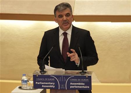 Turkey's President Abdullah Gul delivers a speech to the Parliamentary Assembly of the Council of Europe in Strasbourg, eastern France, January 25, 2011. REUTERS/Jean-Marc Loos