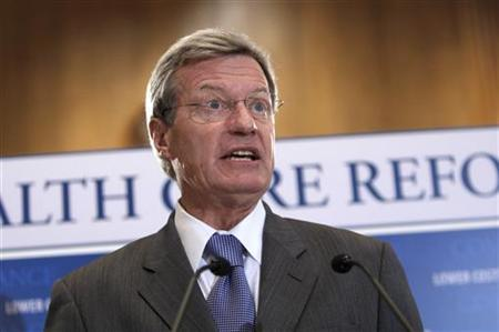 Senator Max Baucus (D-MT) chairman of the Senate Finance Committee, discusses the healthcare reform bill during a news conference on Capitol Hill in Washington, September 16, 2009. REUTERS/Hyungwon Kang