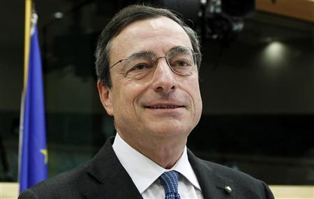 Bank of Italy Governor Mario Draghi attends the European Parliament economic and monetary affairs committee for hearing on proposed appointment as European Central Bank (ECB) president in Brussels in this June 14, 2011 file photo. REUTERS/Francois Lenoir/Files