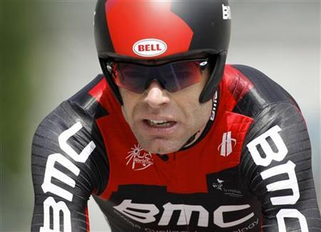 BMC's Cadel Evans of Australia cycles during the individual time trial prologue of the Dauphine cycling race in Saint-Jean-de-Maurienne, French Alps, June 5, 2011. REUTERS/Robert Pratta