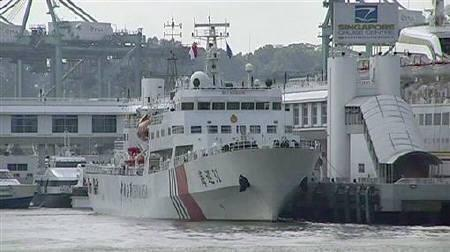 The Chinese Maritime Safety Administration's Haixun 31 maritime patrol vessel is seen berthed at Singapore Cruise Centre in this still image taken from video June 20, 2011. REUTERS/Reuters TV