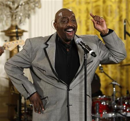 Otis Williams, the only living original member of the Temptations, sings with the group during a celebration of Black History month at the White House in Washington, February 12, 2008. REUTERS/Jason Reed