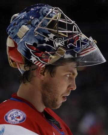 Russia's goalie Semyon Varlamov looks on during their Ice Hockey World Championships quarter-final match against Canada in Cologne May 20, 2010. REUTERS/Wolfgang Rattay