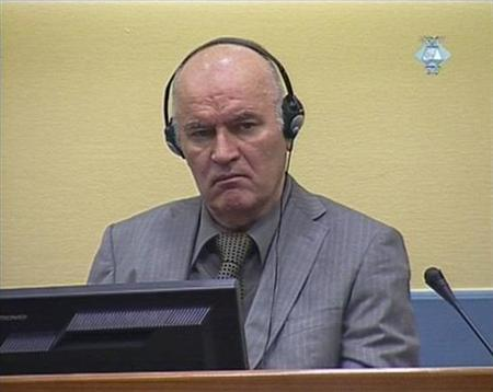 Former Bosnian Serb military commander Ratko Mladic appears in court at the International Criminal Tribunal for the former Yugoslavia (ICTY) in the Hague in this still image taken from video June 3, 2011. REUTERS/ICTY via Reuters TV