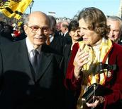 <p>File photo of the oldest son of Austria's last emperor, Otto Habsburg and his wife Regina standing in front of Hofburg palace in Vienna November 20, 2002. Otto Habsburg-Lothringen, 98, died at his home at Lake Starnberg in Germany July 4, 2011, the Austrian Press agency reported. Born in 1912, the man also known as Archduke Otto von Habsburg became head of the imperial House of Habsburg on the death of his father, Archduke Charles, in 1922. The Habsburgs were the ruling family of the Austro-Hungarianempire, which collapsed at the end of World War One. Otto Habsburg had been a member of the European Parliament for the German state of Bavaria and lectured throughout the world on international affairs. REUTERS/Leonhard Foeger /files</p>