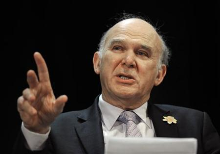 Vince Cable speaks during a question and answer session at the Liberal Democrat party conference in Sheffield, northern England March 12, 2011. REUTERS/Nigel Roddis