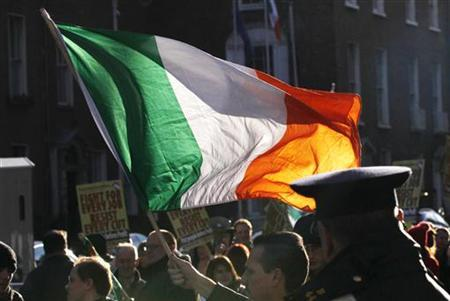 A protestor waves a tri-color flag outside Government Buildings in Dublin November 24, 2010. REUTERS/Cathal McNaughton