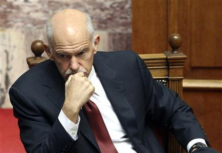 Greece's Prime Minister George Papandreou attends a parliament session in Athens June 30, 2011. REUTERS/Yiorgos Karahalis