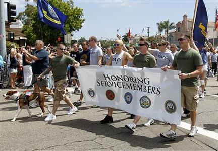 Active and non-active U.S. military personnel participate for the first time in San Diego's Gay Pride Parade in San Diego, July 16, 2011. REUTERS/Mike Blake