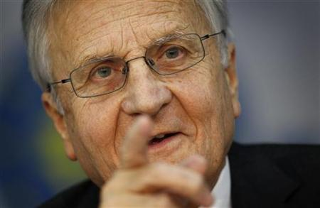 Jean-Claude Trichet, President of the European Central Bank (ECB) answers reporter's questions during his monthly news conference at the ECB headquarters in Frankfurt, July 7, 2011. REUTERS/Kai Pfaffenbach