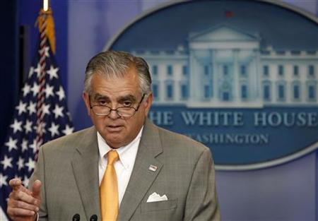 Secretary of Transportation Ray LaHood speaks during the daily media briefing at the White House in Washington July 28, 2011. REUTERS/Larry Downing