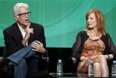 <p>Ted Danson (L) and Marg Helgenberger, cast members of 'CSI Crime Scene Investigation', speak during a panel discussion at the CBS Television Network's 2011 Summer Television Critics Association Press Tour in Beverly Hills, California August 3, 2011. REUTERS/Fred Prouser</p>