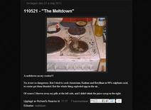 <p>Page du blog de Richard Handl, qui a pris sa cuisinière en photo après avoir tenté d'y faire fonctionner un réacteur nucléaire de fortune. /Image du 4 août 2011/REUTERS/Handout</p>