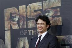 "<p>Cast member James Franco poses at the premiere of ""Rise of the Planet of the Apes"" at the Grauman's Chinese theatre in Hollywood, California July 28, 2011. REUTERS/Mario Anzuoni</p>"