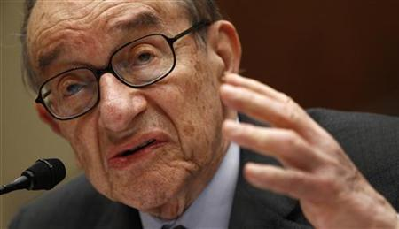 Alan Greenspan, former chairman of the Federal Reserve, testifies before the Financial Crisis Inquiry Commission hearing on Capitol Hill in Washington in this file image from April 7, 2010. REUTERS/Kevin Lamarque