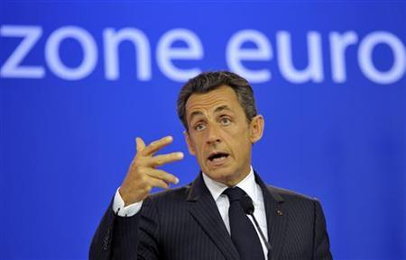 France's President Nicolas Sarkozy speaks during a news conference at the European Council building at the end of an euro zone leaders crisis summit in Brussels July 21, 2011. REUTERS/Philippe Wojazer