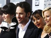 "<p>Actors Zooey Deschanel (L-R), Paul Rudd, Rashida Jones and Elizabeth Banks pose at the premiere of their new film ""Our Idiot Brother"" in Hollywood, California August 16, 2011. REUTERS/Fred Prouser</p>"