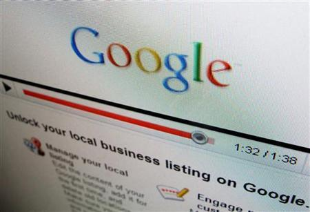 One of the business sites of Google is shown on a computer screen in Encinitas, April 13, 2010. REUTERS/Mike Blake