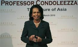 "<p>Former Secretary of State Condoleezza Rice speaks during a lecture ""The Future of Asia"" at the Chinese University of Hong Kong March 19, 2010. REUTERS/Bobby Yip</p>"