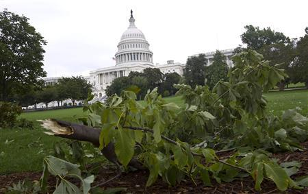 A tree limb lies on the ground in front of the U.S. Capitol the morning after Hurricane Irene passed by Washington August 28, 2011. REUTERS/Benjamin Myers