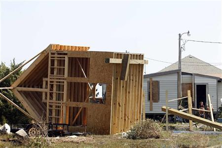A structure, flipped over by Hurricane Irene, is seen at Cape Hatteras National Seashore in Rodanthe, North Carolina August 28, 2011. REUTERS/Jose Luis Magana