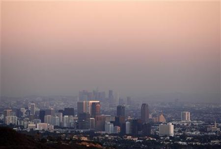 Century City and downtown Los Angeles are seen through smog in a December 2007 photo. REUTERS/Lucy Nicholson