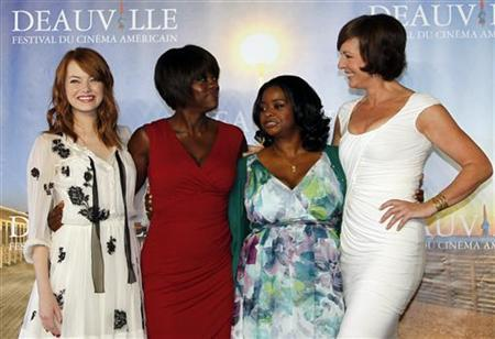 U.S actresses (L-R) Emma Stone, Viola Davis, Octavia Spencer, and Allison Janney pose during a photocall for their film ''The Help'' at the 37th American Film Festival in Deauville September 3, 2011. REUTERS/Regis Duvignau