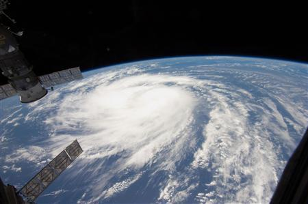Hurricane Katia is seen from a window of the International Space Station in this NASA handout picture taken August 31, 2011 and released on September 1, 2011. REUTERS/NASA/Handout