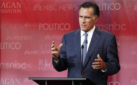 Former Massachusetts Governor Mitt Romney speaks from his podium during the Reagan Centennial GOP presidential primary debate at the Ronald Reagan Presidential Library in Simi Valley, California September 7, 2011. REUTERS/Mario Anzuoni
