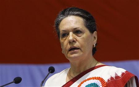 Chief of India's ruling Congress Party Sonia Gandhi speaks during the All India Congress Committee (AICC) meeting in New Delhi in this November 2, 2010 file photo. Gandhi, the head of India's ruling Congress party, returned to New Delhi on September 8, 2011 after receiving surgery in the United States for an undisclosed illness. REUTERS/B Mathur/Files