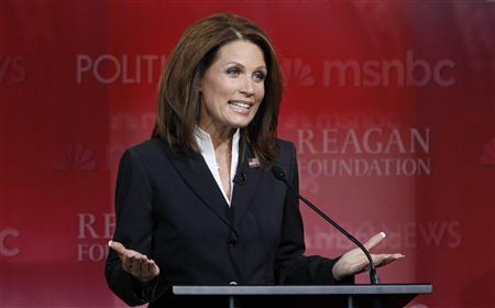U.S. Republican presidential candidate, Rep. Michele Bachmann (R-MN), speaks during the Reagan Centennial GOP presidential primary debate at the Ronald Reagan Presidential Library in Simi Valley, California September 7, 2011. REUTERS/Mario Anzuoni