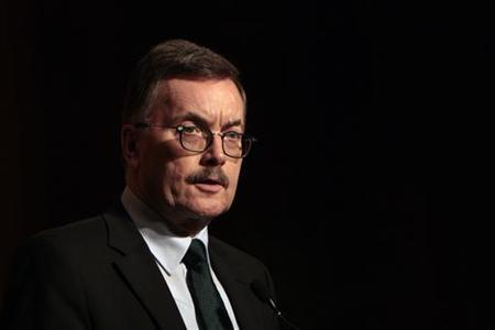 European Central Bank (ECB) policymaker Juergen Stark speaks during a dinner function at a hotel in Hong Kong April 12,2011.REUTERS/Tyrone Siu