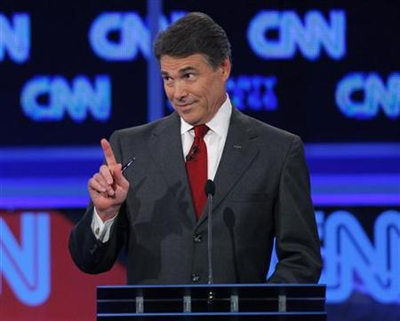 Texas Governor Rick Perry makes a statement during the CNN/Tea Party Republican presidential candidates debate in Tampa, Florida, September 12, 2011. REUTERS/Scott Audette