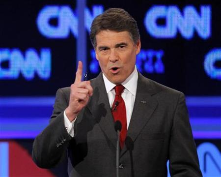 Texas Governor Rick Perry speaks during the CNN/Tea Party Republican presidential candidates debate in Tampa, Florida September 12, 2011. REUTERS/Scott Audette