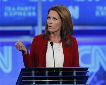 Rep. Michele Bachmann participates in the CNN/Tea Party Republican presidential candidates debate in Tampa, Florida, September 12, 2011. REUTERS/Scott Audette