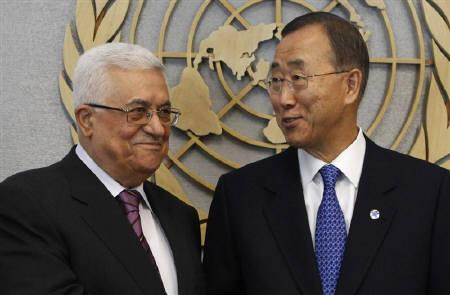 U.N. Secretary General Ban Ki-moon (R) meets with Palestinian President Mahmoud Abbas at the U.N. headquarters in New York September 19, 2011. REUTERS/Jessica Rinaldi