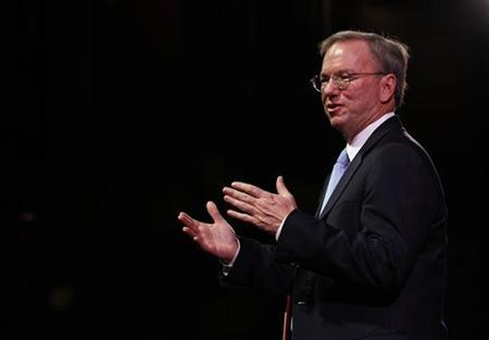 Google Chairman Eric Schmidt gestures during a rehearsal of his MacTaggart lecture speech for the Edinburgh International Television Festival in Edinburgh, Scotland August 26, 2011. REUTERS/David Moir