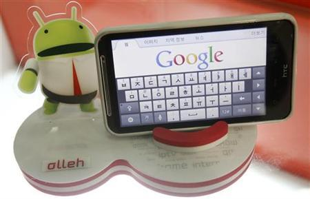An Android smartphone displays the Google website in this picture illustration in Seoul September 7, 2011. REUTERS/Truth Leem