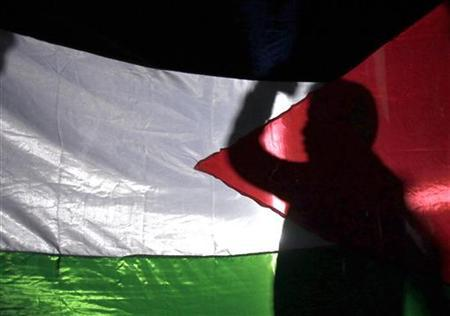 A boy waves a Palestinian flag during a rally outside the U.N. office in Amman September 23, 2011. REUTERS/Ali Jarekji