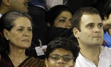 Congress chief Sonia Gandhi (L) and her son MP Rahul Gandhi watch the ICC Cricket World Cup 2011 semi-final match between India and Pakistan in Mohali in this March 30, 2011 file photo. REUTERS/Vivek Prakash/Files