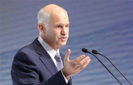 Greek Prime Minister George Papandreou delivers his speech during a meeting of the BDI (Federational German Industries) in Berlin September 27, 2011. REUTERS/Tobias Schwarz (GERMANY - Tags: POLITICS BUSINESS)