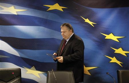 Greece's Finance Minister Evangelos Venizelos arrives for a news conference in Athens September 27, 2011. REUTERS/Yiorgos Karahalis
