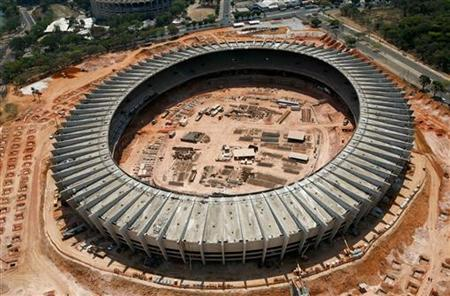 An aerial view shows the renovation work of Magalhaes Pinto soccer stadium, also known as Minerao stadium, that will be used in the World Cup Brazil 2014, in Belo Horizonte September 23, 2011. REUTERS/Washington Alves