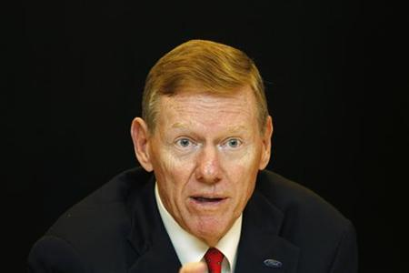 Ford Motor Co. President and CEO Alan Mulally gives an interview in Bangkok September 29, 2011. REUTERS/Sukree Sukplang