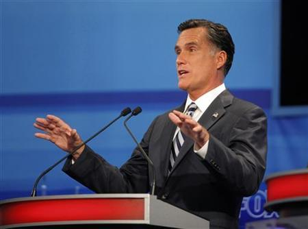 Former Massachusetts Governor Mitt Romney speaks during the Republican Party of Florida presidential candidates debate in Orlando, Florida, September 22, 2011. REUTERS/Scott Audette