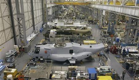 The Osprey assembly line at Boeing's Ridley Park, Pennsylvania plant is seen in this May 6, 2002 file photograph. REUTERS/Tim Shaffer/Files