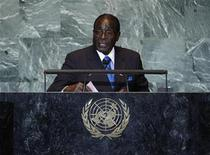 <p>Zimbabwean President Robert Mugabe addresses the 66th United Nations General Assembly at U.N. headquarters, in New York, September 22, 2011. REUTERS/Chip East</p>