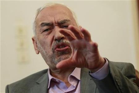 Sheikh Rachid Ghannouchi, head of the Ennahda movement, speaks during an interview with Reuters in Tunis, February 3, 2011. REUTERS/Louafi Larbi