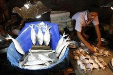 <p>A vendor sells hilsha fish at Kawranbazar in Dhaka October 3, 2011. REUTERS/Andrew Biraj</p>